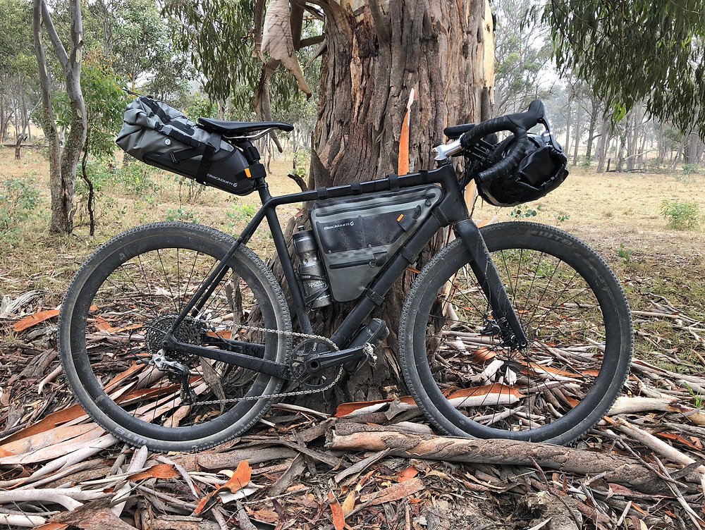 David Waugh's unbranded black stealth bikepacker