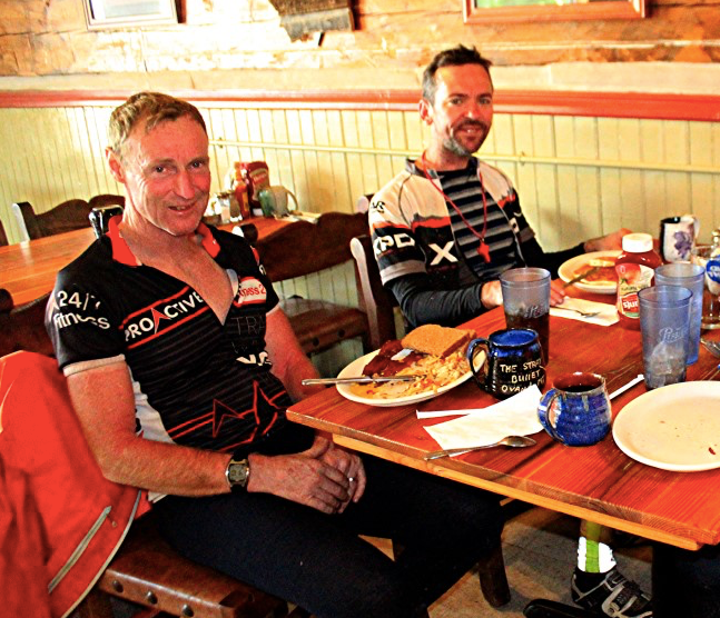 Dane Roberts fueling up with veteran Tour Divide racer Rob Davidson Ovando MT 2018