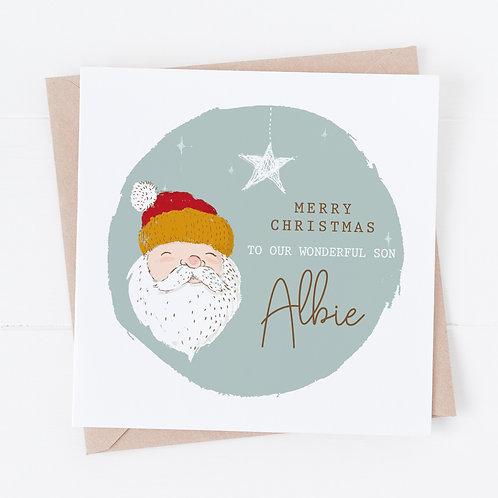 Personalised Vintage Santa Christmas Card - Son, Grandson, Nephew Active