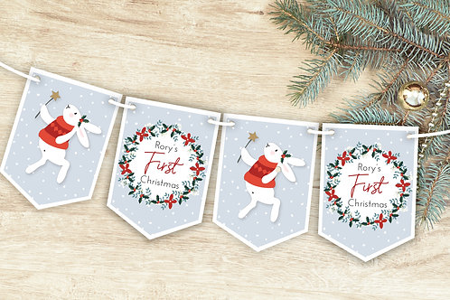 Baby's First Christmas Cute Rabbit Bunting