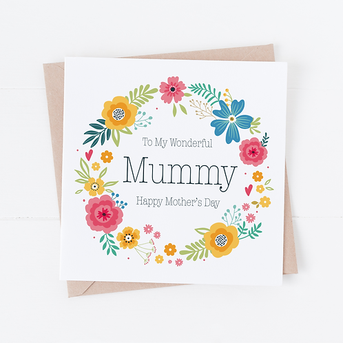 Bright Floral Wreath Mother's Day Card