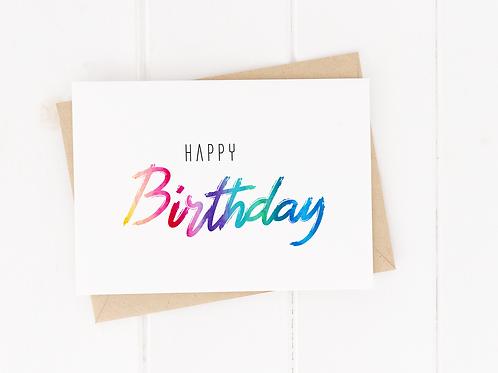 Rainbow Text Birthday Card