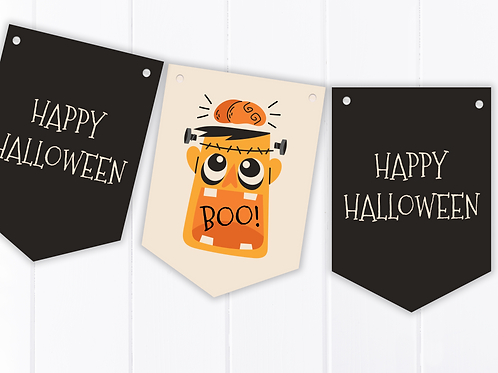 Cartoon Frankenstein Halloween Party Bunting