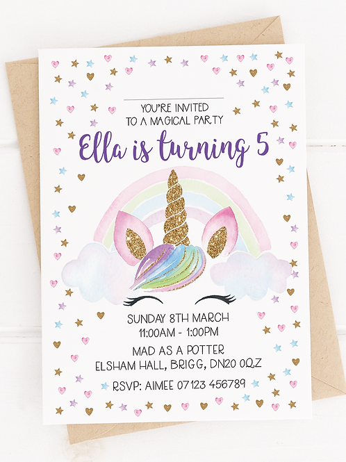 PERSONALISED Unicorn Party Invites - 10 Pack