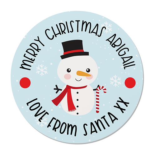 24 Personalised Snowman Merry Christmas Stickers