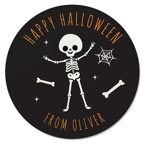 24 Personalised Halloween Skeleton Stickers