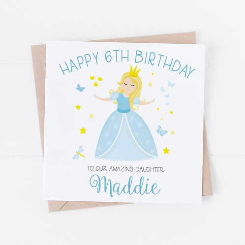 PERSONALISED Cinderella Princess Birthday Card