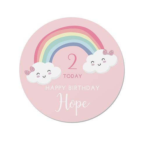 PERSONALISED Pink Rainbow Happy Birthday Stickers