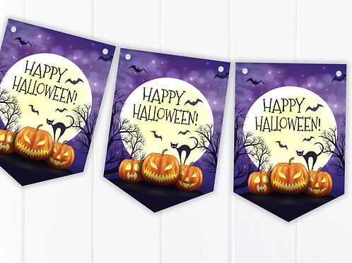 Scary Pumpkins Halloween Party Bunting