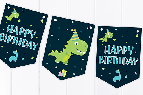 Dinosaur Happy Birthday Bunting