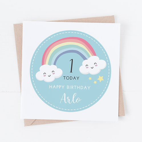 PERSONALISED Blue Rainbow Birthday Card