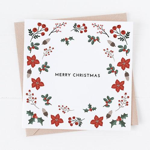 Floral Frame Christmas Cards