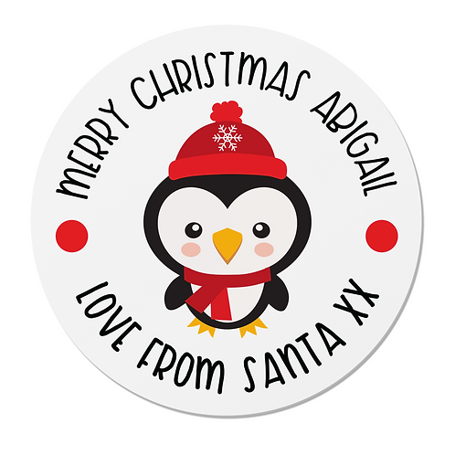 24 Personalised Penguin Merry Christmas Stickers