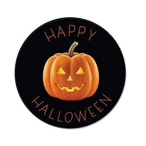 24 Happy Halloween Pumpkin Stickers (Black)