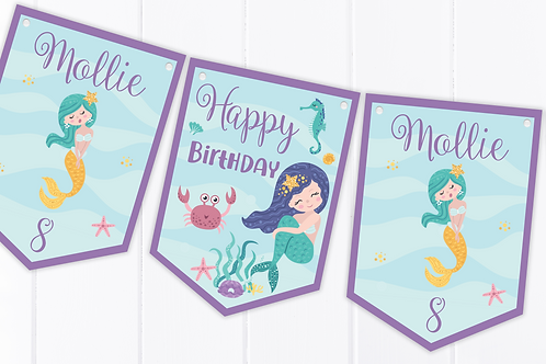 PERSONALISED Mermaid Happy Birthday Bunting