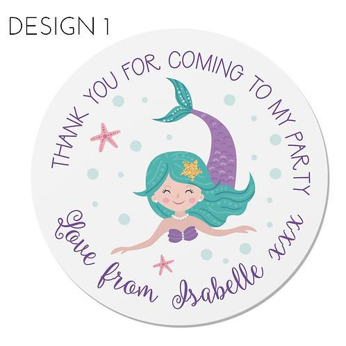 PERSONALISED Mermaid Happy Birthday Stickers