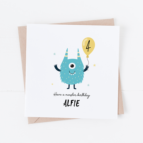 PERSONALISED Monster Birthday Card