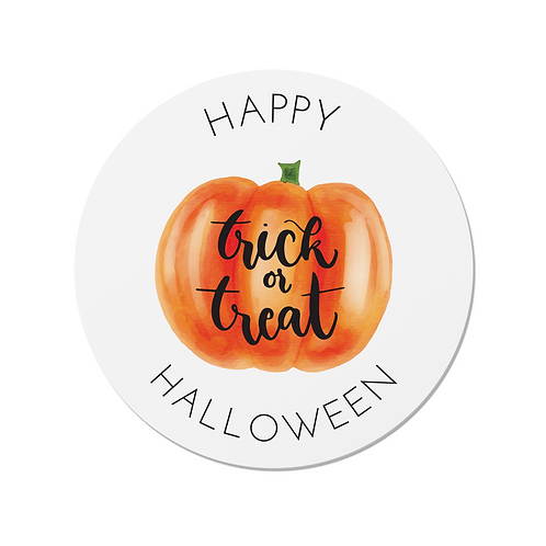 24 Happy Halloween Pumpkin Trick or Treat Stickers (White)