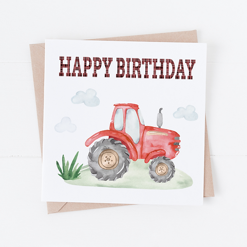Red Tractor Birthday Card