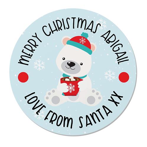 24 Personalised Polar Bear Merry Christmas Stickers