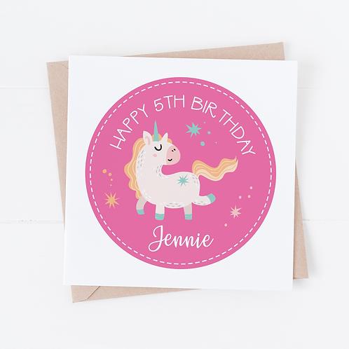 PERSONALISED Cute Unicorn Birthday Card