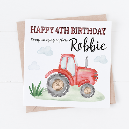 PERSONALISED Red Tractor Birthday Card
