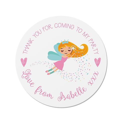 PERSONALISED Fairy Happy Birthday Stickers