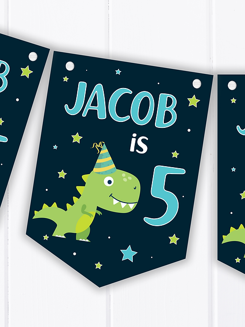 PERSONALISED Dinosaur Happy Birthday Bunting