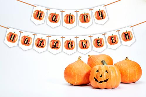 Happy Halloween Pumpkin Bunting (White)