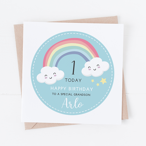 PERSONALISED Blue Rainbow Birthday Card