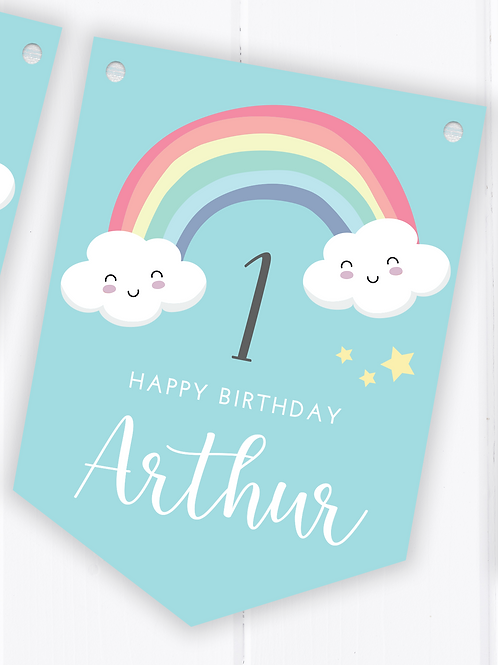 PERSONALISED Blue Rainbow Happy Birthday Bunting