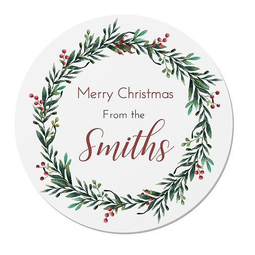 Personalised Christmas Wreath Stickers