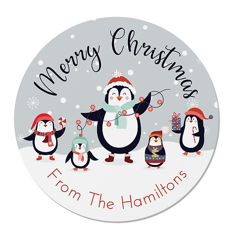 24 Personalised Penguin Family Merry Christmas Stickers