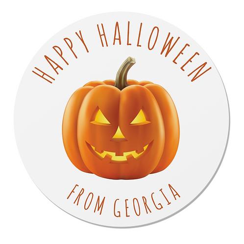 24 Personalised Halloween Pumpkin Stickers (White)