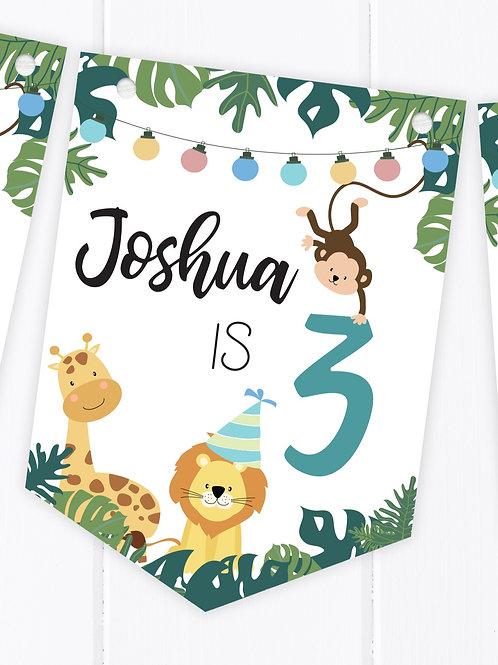 PERSONALISED Jungle Safari Happy Birthday Bunting