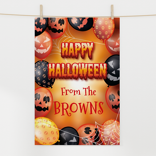 A3 or A4 Personalised Halloween Poster - Balloon Border