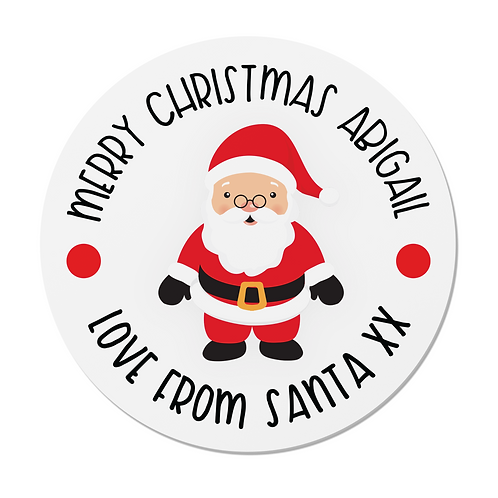 24 Personalised Santa Claus Merry Christmas Stickers
