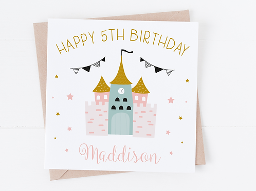 PERSONALISED Princess Castle Birthday Card