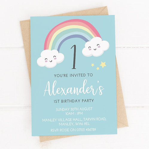 PERSONALISED Blue Rainbow Party Invites - 10 Pack