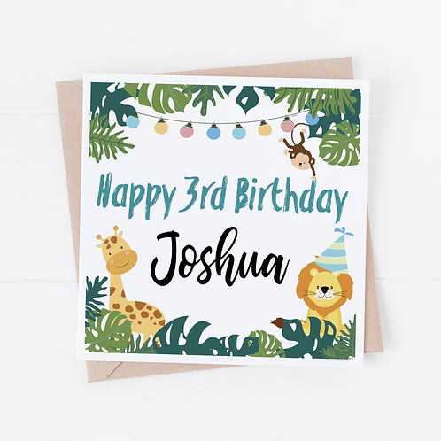 PERSONALISED Jungle Birthday Card