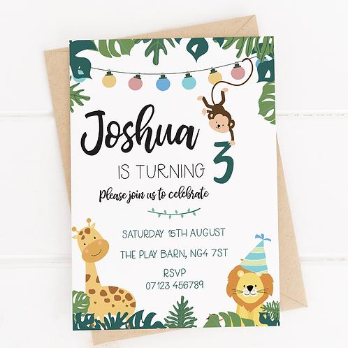 PERSONALISED Jungle Safari Party Invites - 10 Pack
