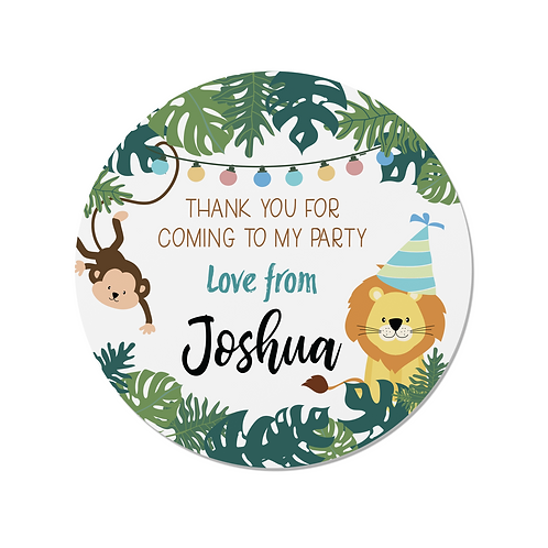 PERSONALISED Jungle Happy Birthday Stickers