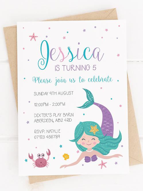 PERSONALISED Mermaid Party Invites - 10 Pack