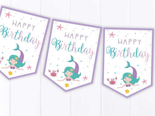 Mermaid Happy Birthday Bunting