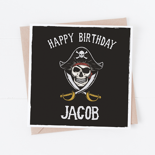 PERSONALISED Pirate Birthday Card