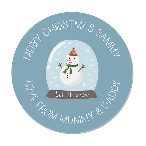 24 Personalised Merry Christmas Stickers - Snow Globe Design