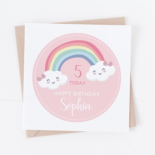 PERSONALISED Pink Rainbow Birthday Card