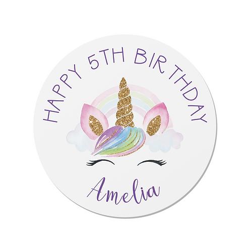PERSONALISED Unicorn Happy Birthday Stickers