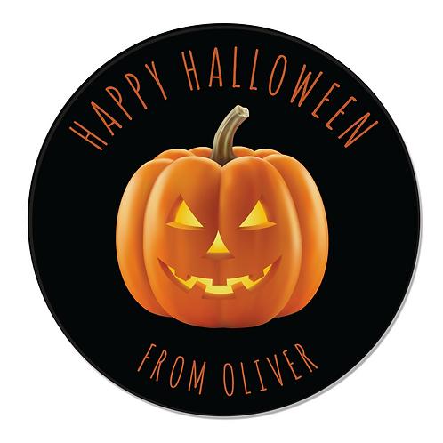 24 Personalised Halloween Pumpkin Stickers (Black)