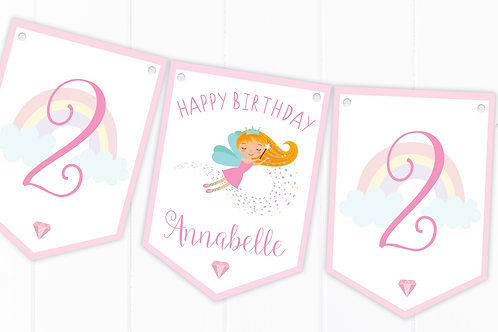 PERSONALISED Fairy Happy Birthday Bunting